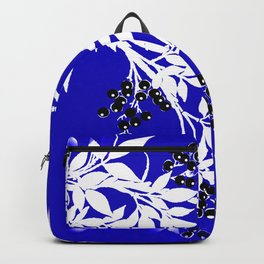 LEAF AND TREE BRANCHES BLUE AD WHITE BLACK BERRIES Backpack
