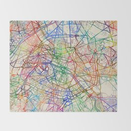 Paris France Street Map Throw Blanket