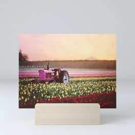 Tulip Festival Pink tractor Mini Art Print