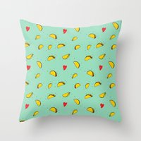 taco Throw Pillows featuring Taco Tuesday by creativaty