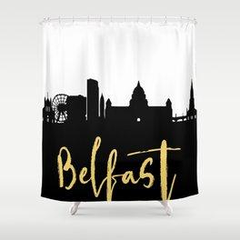 BELFAST NORTHERN IRELAND DESIGNER SILHOUETTE SKYLINE ART Shower Curtain