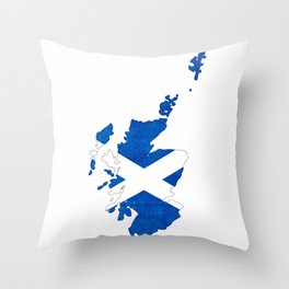 Scotland Flag Country Outline Throw Pillow