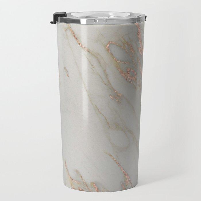 Marble - Rose Gold Marble Metallic Blush Pink Travel Mug