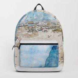 Aquarelle sketch art. The rock of Gibraltar, beach and coastline Backpack