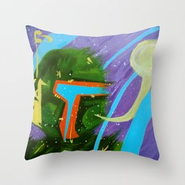 Fett (from Helmet Speak series) Throw Pillow