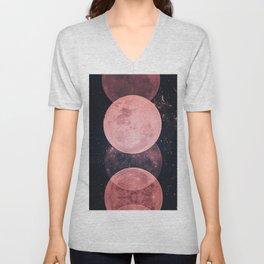 Pink Moon Phases Unisex V-Neck