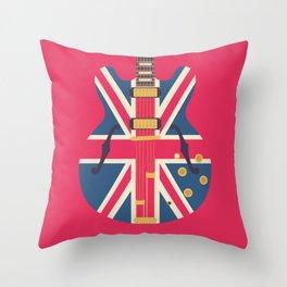 Union Jack Flag Guitar - Crimson Throw Pillow
