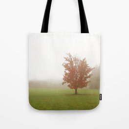 Maple Tree in Fog with Fall Colors Tote Bag