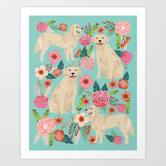 Golden retrievers must have florals mint pastel gender neutral dog art cute pet portraits labrador  Art Print