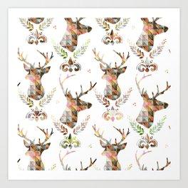 watercolor pattern deer head Art Print