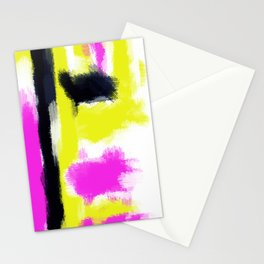pink yellow and black painting abstract with white background Stationery Cards