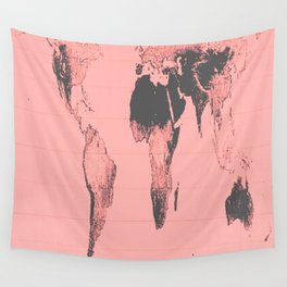 World Map: Gall Peters Pink Wall Tapestry