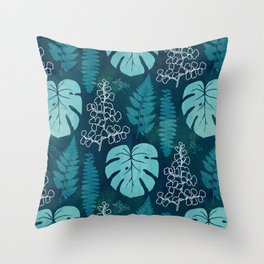 Tropical leaves on dark green Throw Pillow