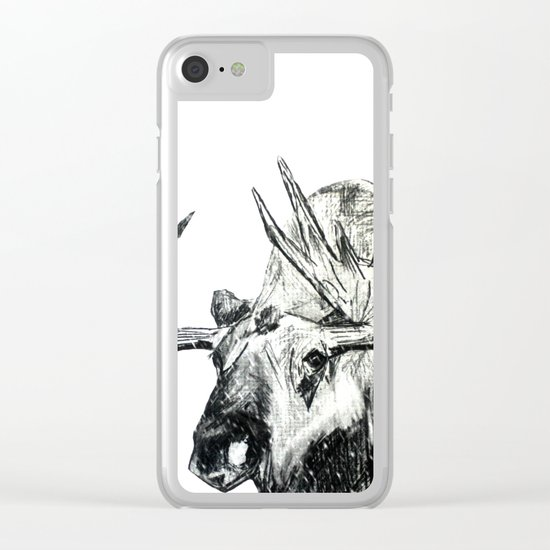 Moose Woodland Animal Snow Edit Pencil Sketch Clear iPhone Case
