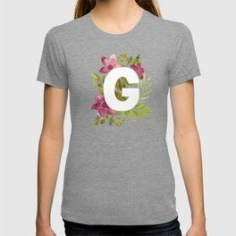 Monogram G with red waercolor flowers and green leaves. Floral letter G. Botanical illustration. T-shirt