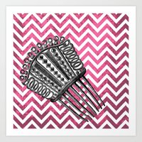arsenal Art Prints featuring Lady's Arsenal - The Comb by Ashley Anonymous