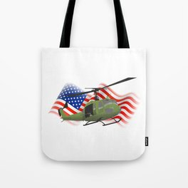 UH-1 Huey Helicopter with American Flag Tote Bag