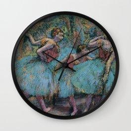 Edgar Degas - Three Dancers (Blue Tutus, Red Bodices) Wall Clock