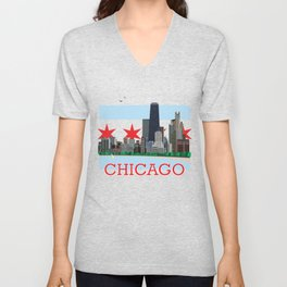 Chicago Gold Coast Skyline Illustration Chicago Flag Unisex V-Neck