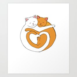 Heart Shaped Cats Love Orange and White Tabby Art Print
