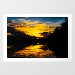 Sundown At Lake Heve 6 Art Print