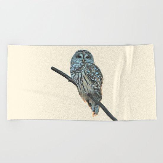Barred Owl (beige) Beach Towel