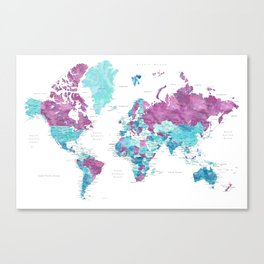 """Purple and turquoise watercolor world map with cities, """"Blair"""" Canvas Print"""