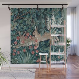 William Morris Forest Rabbits and Foxglove Greenery Wall Mural