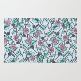 the pattern of flowers and leaves . artwork Rug