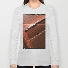 geometrical abstrac art copper colored metal texture Long Sleeve T-shirt