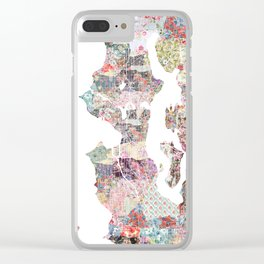 Seattle map Clear iPhone Case