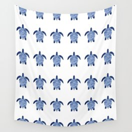 Sea Turtle Pattern in Indigo Wall Tapestry
