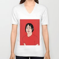 jack white V-neck T-shirts featuring Jack White Portrait by eddieskeddy