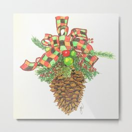 Holiday Pine Cone Metal Print