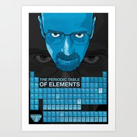 periodic table Art Prints featuring WALTER WHITE PERIODIC TABLE by Vloh