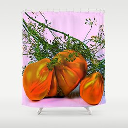 Still life of tomatoes and dill Shower Curtain