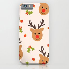 Christmas Reindeer, Holly and Ornaments iPhone Case