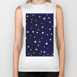 Navy blue watercolor chic rose gold modern confetti polka dots pattern Biker Tank