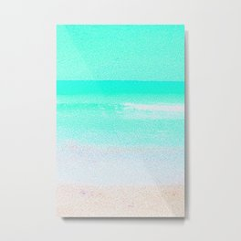 Blissful Beach - Turquoise Wave Metal Print