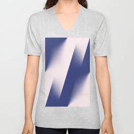 Navy Blue and Pink Diagonal Color Block Ombre Unisex V-Neck