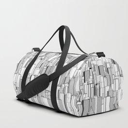 Tall city B&W / Lineart city pattern Duffle Bag