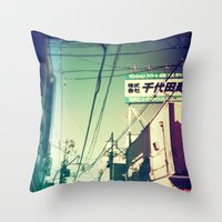 tokyo Throw Pillows featuring TOKYO by lizbee