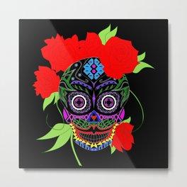 Rosa Adela calavera skull ecopop Metal Print