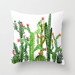 Green Simple Cacti Throw Pillow