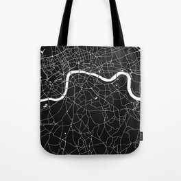 London Black on White Street Map Tote Bag