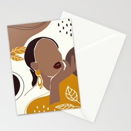African American Art, Leaf Girl Print, Black Woman Wall Art, Black Girl Print, Fashion Print Stationery Cards