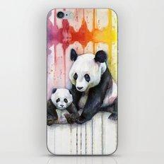 Pandas and Rainbow Watercolor Mom and Baby Panda Nursery Animals iPhone & iPod Skin