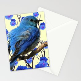 BLUE BIRD & BLUE MORNING GLORIES ART FROM  SOCIETY6 BY SHARLESART. Stationery Cards