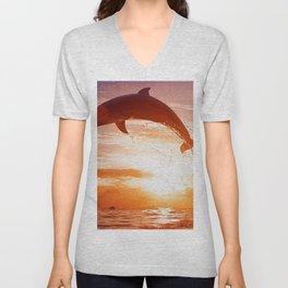 Phenomenal Super Cute Dolphin Jumping Water Romantic Sunset Ultra HD Unisex V-Neck