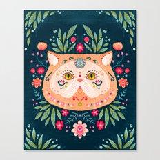 Candied Sugar Skull Kitty Canvas Print